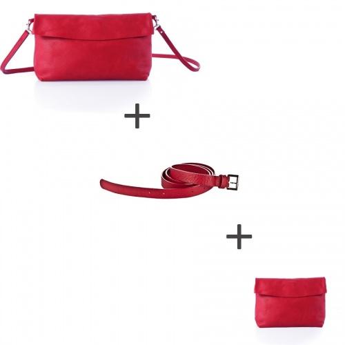 Acheter Pochette bandoulière Rouge + Pochette small Rouge + Ceinture Rouge