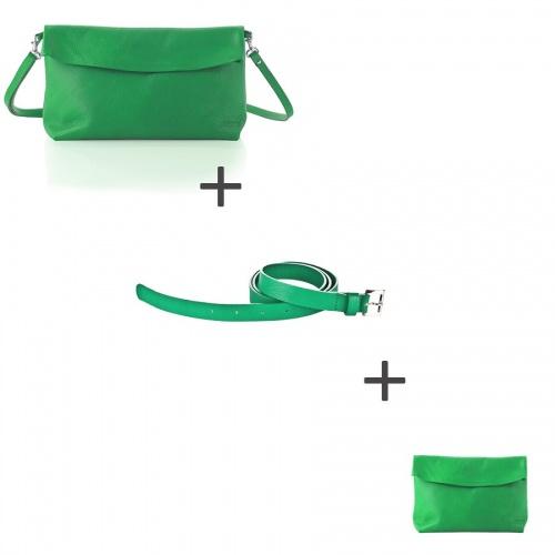 Pochette bandoulière Verte + Pochette small Verte + Ceinture Verte