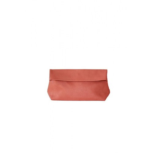 Medium Perforated Coral Leather Purse