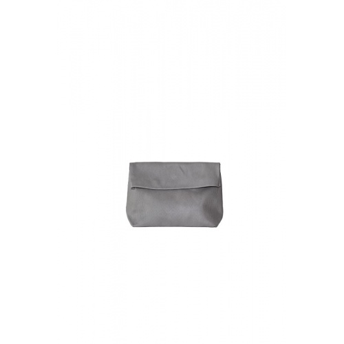 Small Perforated Lazy Grey Leather Purse