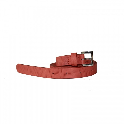Perforated Coral Leather Belt