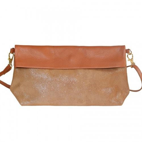 Glitter & Cognac Leather Shoulder Bag