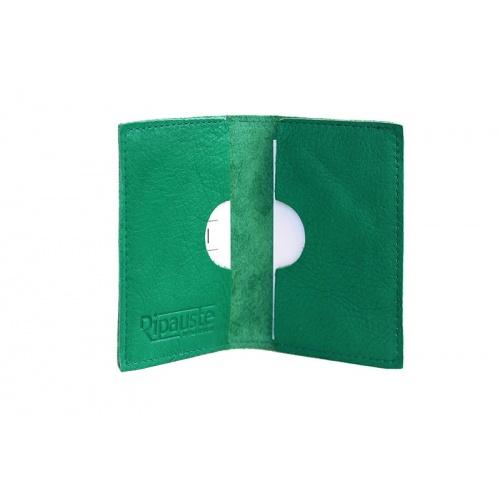 Porte-Cartes Vert en Cuir