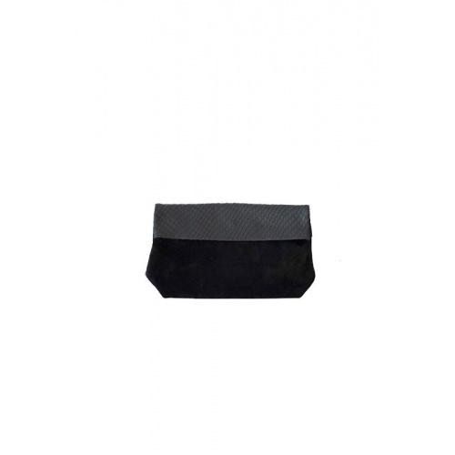 Medium Black Suede & Croco Leather Purse