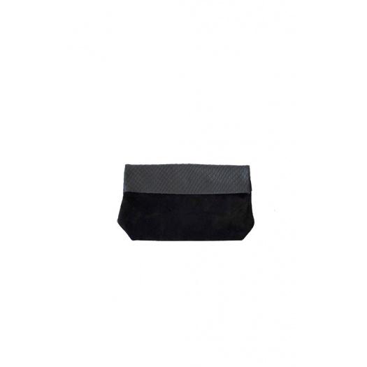 Pochette Medium Velours Noir / Croco