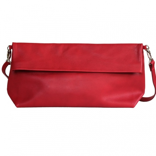 Red Leather XL Shoulder Bag