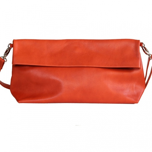 Orange Leather XL Shoulder Bag