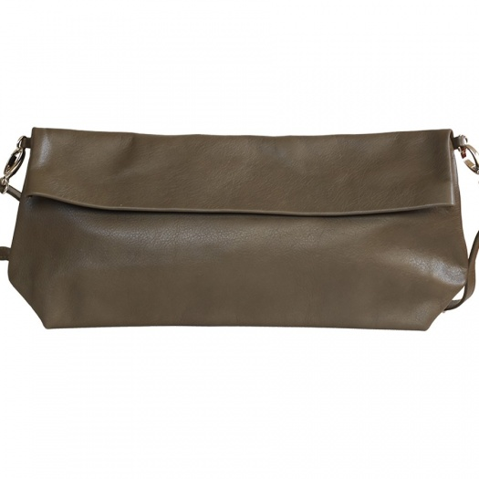 Khaki Leather XL Shoulder Bag