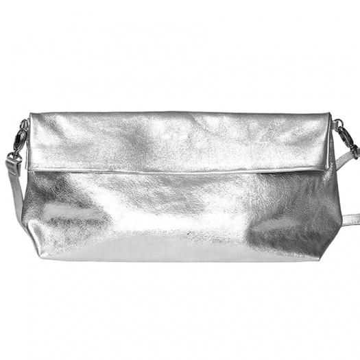 Silver Leather XL Shoulder Bag