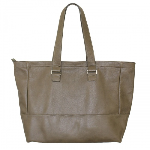 Khaki Leather Tote