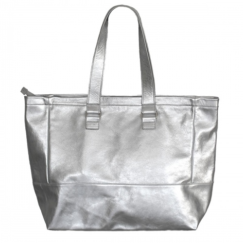 Silver Leather Tote