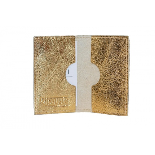 Golden Leather Card Holder