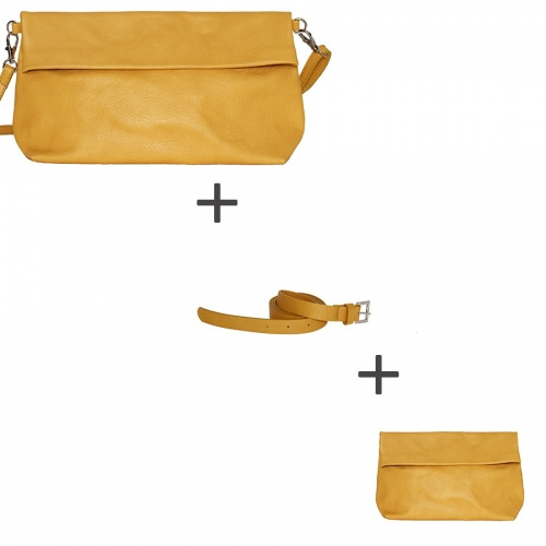 Pochette bandoulière Moutarde + Pochette small Moutarde + Ceinture Moutarde