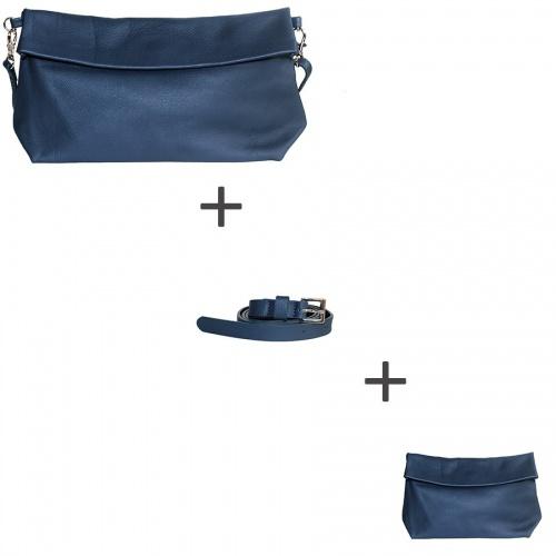 Pochette bandoulière Bleu Marine + Pochette small Bleu Marine + Ceinture Bleu Marine