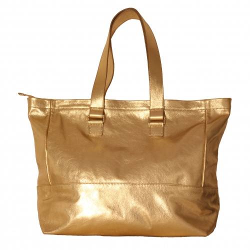 Golden Leather Tote