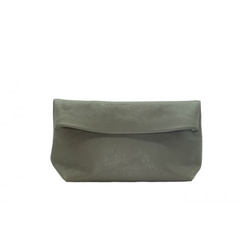Large Khaki Leather Clutch