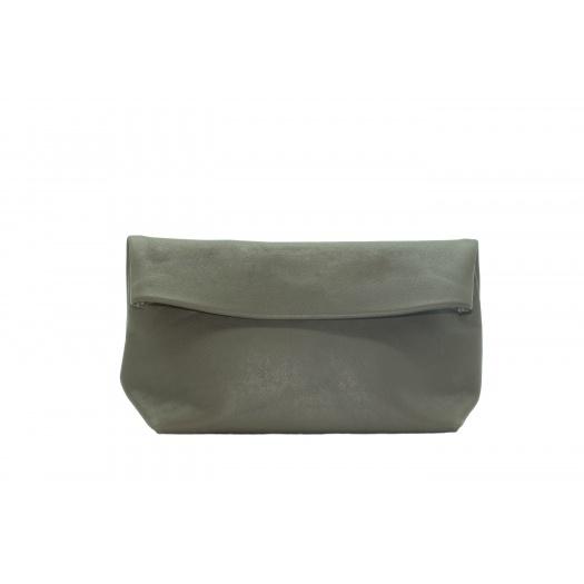 Large Khaki Leather Clutch