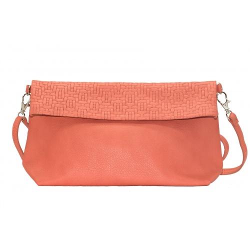 Coral Leather Shoulder Bag