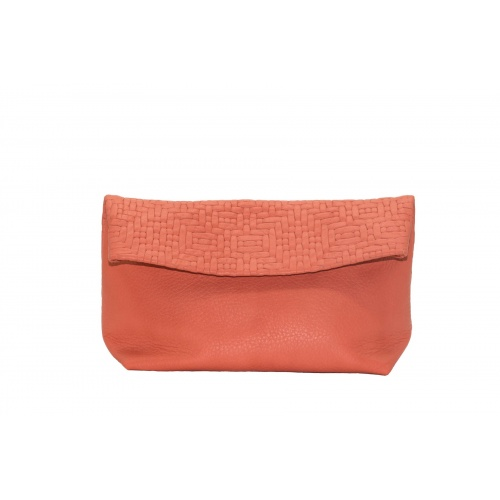 Large Coral Leather Clutch