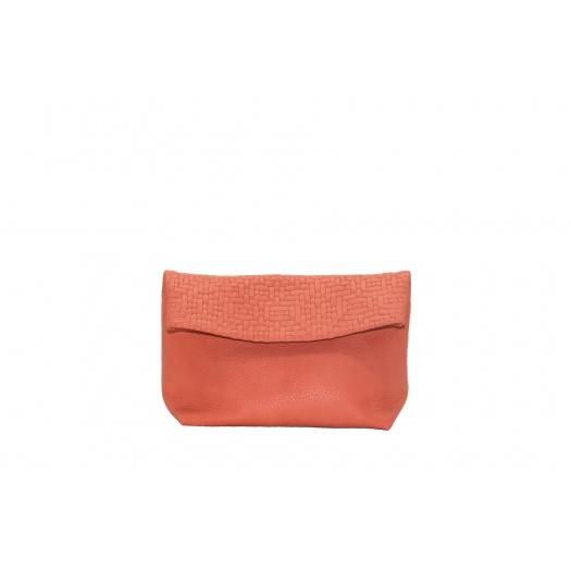 Medium Coral Leather Purse