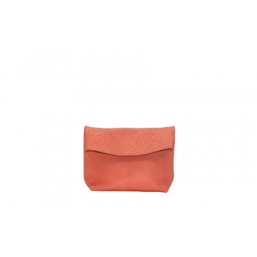 Small coral Leather Purse