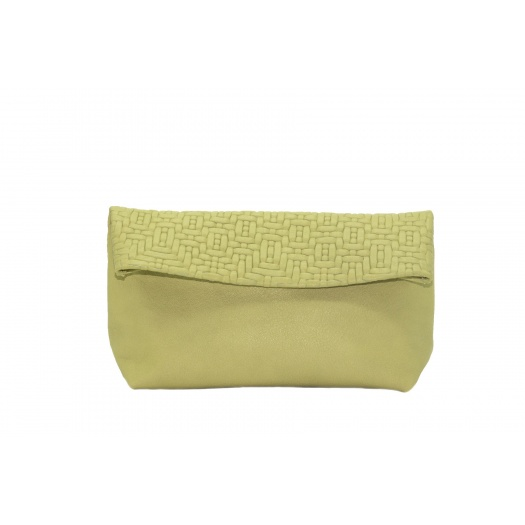 Large Soft Green Leather Clutch