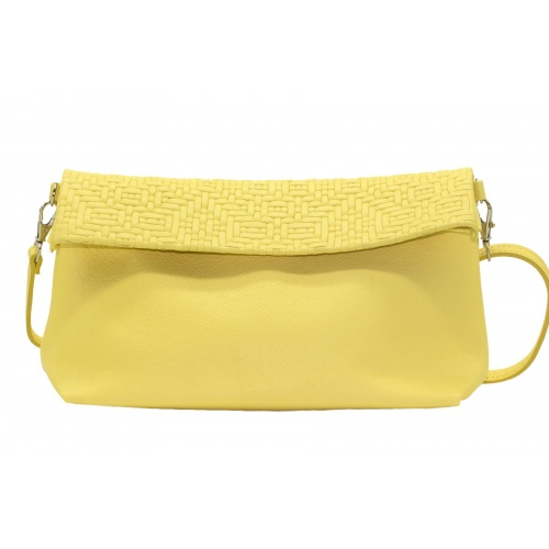 Iris Yellow Leather Shoulder Bag
