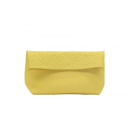 Large Soft Yellow Leather Clutch