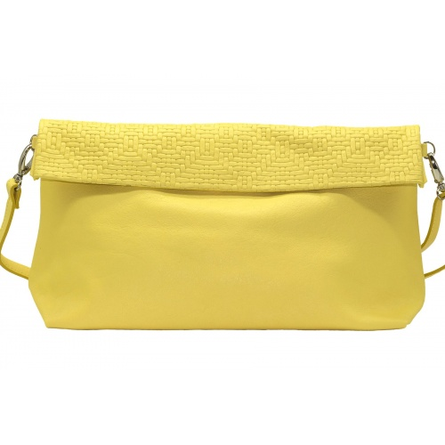Iris Yellow Leather XL Shoulder Bag