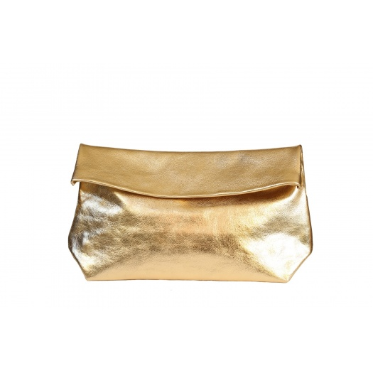 Large Golden Leather Clutch
