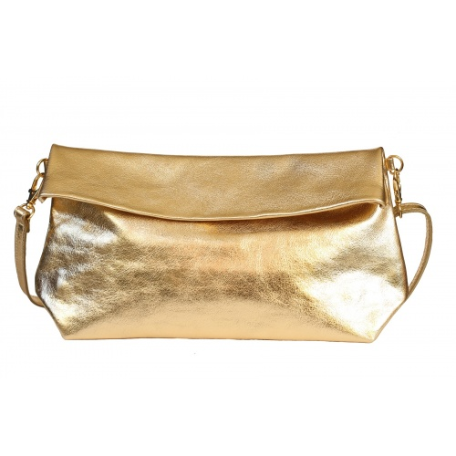 Golden Leather Shoulder Bag