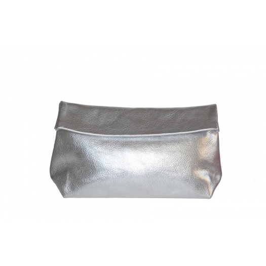 Large Silver Leather Clutch