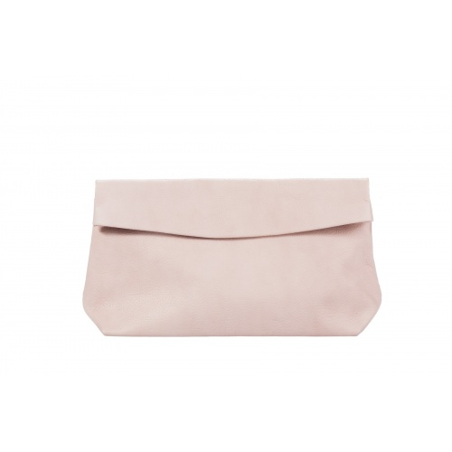 Large Light Pink Leather Clutch