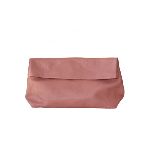 Large Old Pink Leather Clutch