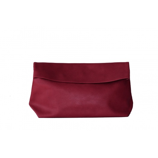 Large Burgundy Leather Clutch