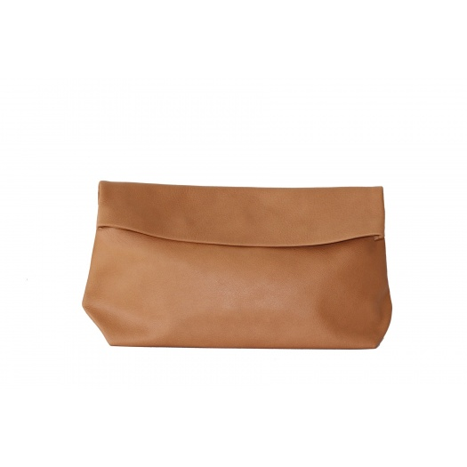 Large Camel Leather Clutch