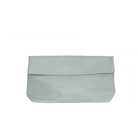 Large Green Almond Leather Clutch