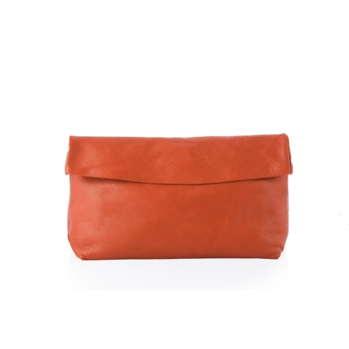 Large Orange Leather Clutch