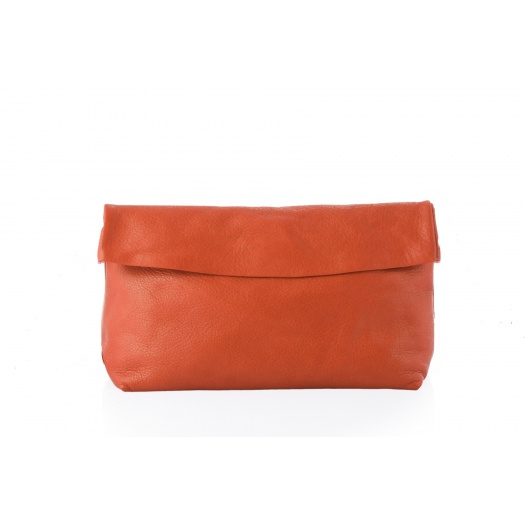 Large Orange Leather Clutch