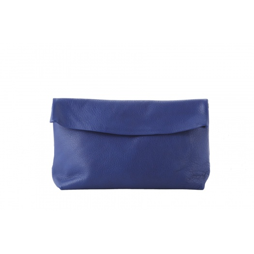 Large Blue Leather Clutch