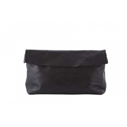 Large Black Leather Clutch