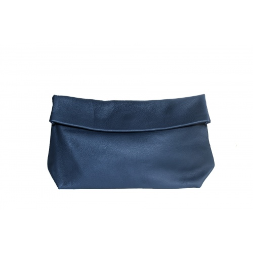 Large Navy Leather Clutch