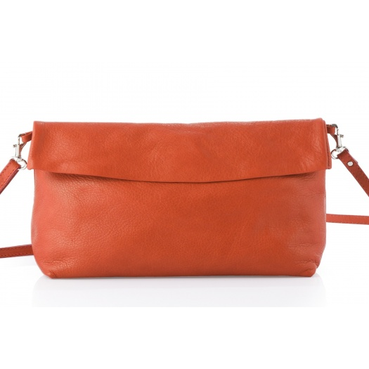 Orange Leather Shoulder Bag
