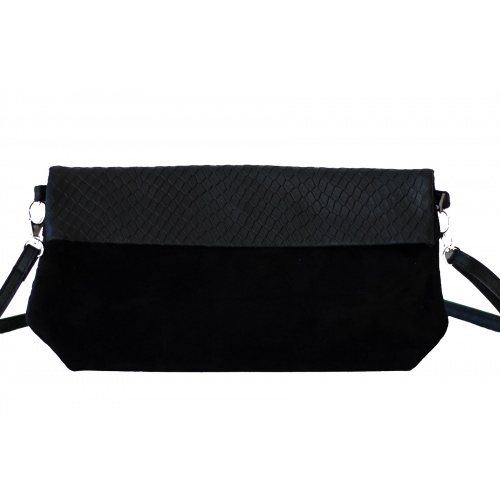 Acheter Black Suede & Croco Shoulder Bag