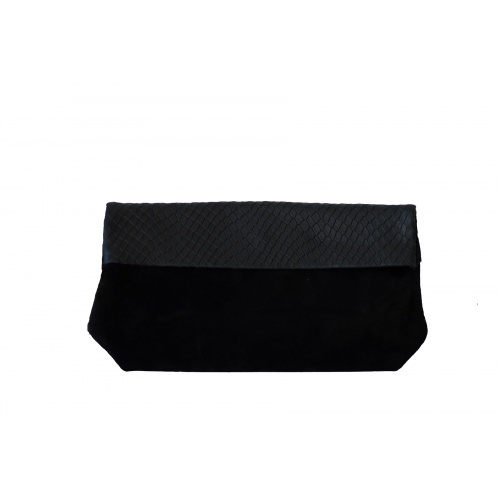 Large Black Suede & Croco Leather Clutch