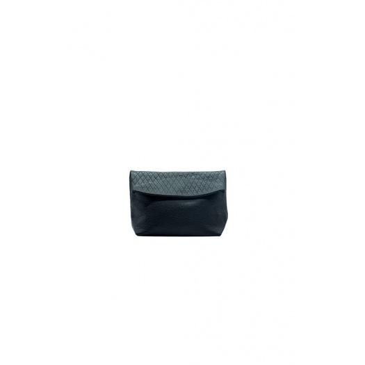 Small Black Suede & Croco Leather Purse