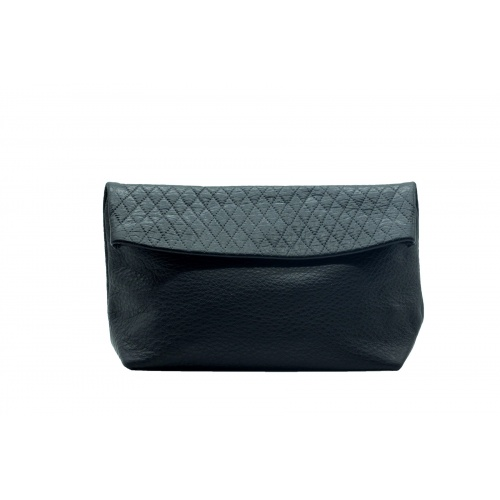 Acheter Large Black Suede & Croco Leather Clutch
