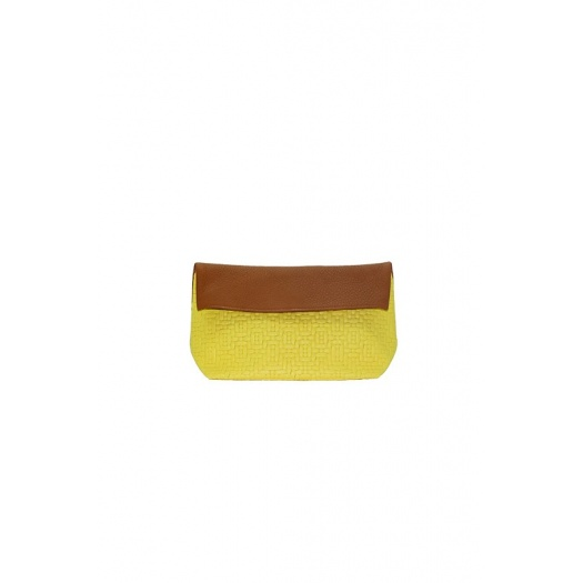 Pochette cuir jaune