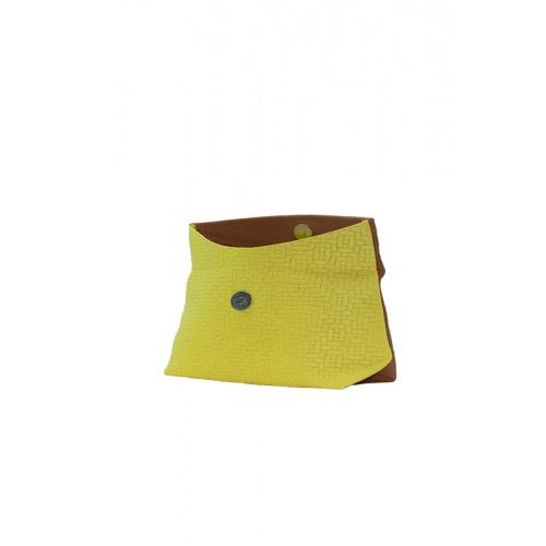 Pochette cuir camel et jaune
