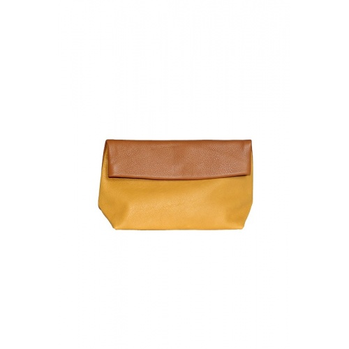pochette maquillage moutarde